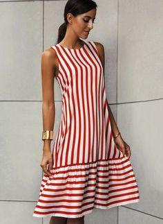 Stripe Ruffles Drop waist Knee-Length A-line Dress - Red XXL Spring Dresses, Day Dresses, Dresses For Sale, Casual Dresses, Dresses Online, Latest Fashion For Women, Womens Fashion, Fashion Online, Knee Length Dresses