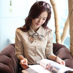 2014 Korean New Fashion Lady Career Blouse Size S 2XL Long sleeve Charm Office Lady Formal Style Women Shirt  -in Blouses & Shirts from Apparel & Accessories on Aliexpress.com | Alibaba Group