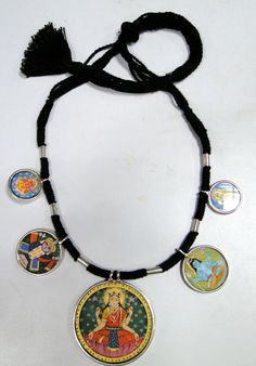 India - 925 STERLING SILVER PAINTING Necklace - Lakshmi