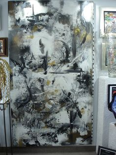 """modern contemporary abstract by Hungarian Artist ISTVAN original 52"""" x 89"""" on canvas  www.gallery36.ca"""