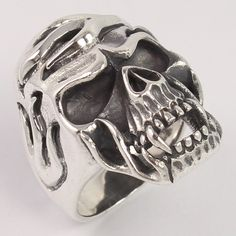 Solid 925 Sterling Silver Gothic Skull Biker Finger Ring Size US 9 Men's Jewelry #Unbranded #Bikers