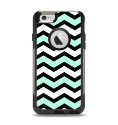 Please follow!!!! The Teal & Black Wide Chevron Pattern Apple iPhone 6 Otterbox Commuter Case Skin Set