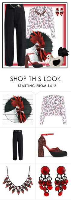 """""""Rooster Purse 🐓"""" by yvonnewarren ❤ liked on Polyvore featuring Marmont Hill, FLOW the Label, Toga, Marni, Elizabeth Cole, Paco Rabanne and Betsey Johnson"""