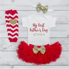 131425fa2efe My 1st Father's Day Outfit Girl Fathers Day Bodysuit Tutu Set Newborn  Summer Baby Girl Clothes 004S