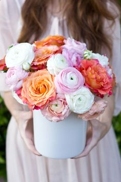Fresh mix of ranunculus and garden roses