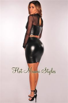 Black Faux Leather Two Piece Set Womens clothing clothes hot miami styles hotmiamistyles hotmiamistyles.com sexy club wear evening  clubwear cocktail party kim kardashian dresses