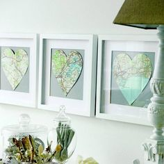 DIY: Frame your favorite destinations. From Pottery Barn Teen.  Oh no just threw out old atlas.