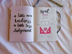 Bullet Journal, BuJo, Bullet Journaling, Quote Page, April, Monthly Cover