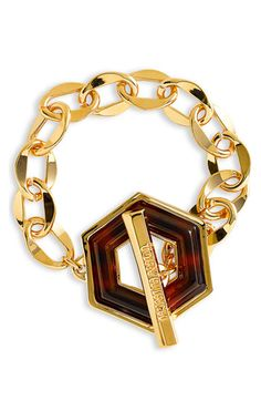 Tortoise - and Gold Bracelet - by Tory Burch