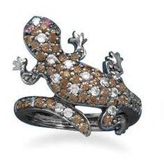 #salernosjewelrystore11.ecrater.com                 #ring                     #Chocolate #Gecko #Ring   Chocolate CZ Gecko Ring                             http://www.seapai.com/product.aspx?PID=182112