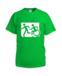 Accessible Means of Egress Icon (Running Man and Wheelie Man Left Hand) Wheelchair Exit Sign Design Sign Design, Mens Tops, Cart, Cotton, Signs, Exit Sign, Running Man, Hall Runner, Dinner Plates