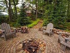 We're wanting to create an area in the backyard with a permanent firepit and sitting area...I love the trees around.
