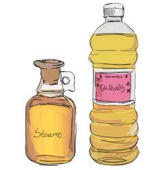 dibujo de aceite de almendra y aceite esencial de lavanda