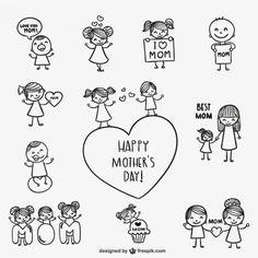 Dibujos del día de madre Vector Gratis