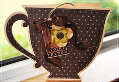 Do you have a friend that loves tea/coffee/ or mugs? Create and send them this cute tea cup card - add an actual tea bag for fun. Bookmark Crochet, Scrapbook Cards, Scrapbooking, 3d Templates, Coffee Cards, Shaped Cards, Cricut Cards, Some Cards, Kirigami