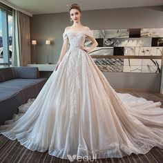 f760ab1d91 Luxury   Gorgeous Champagne Wedding Dresses 2018 Ball Gown Lace Beading  Pearl Sequins Off-The-Shoulder Backless Short Sleeve Royal Train Wedding