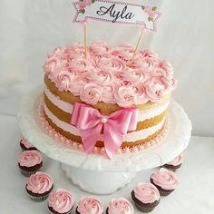 2 Tier Birthday Cakes, Birthday Cakes For Women, Cake Cookies, Cupcakes, Cupcake Cakes, Bolos Naked Cake, Bolo Minnie, Doughnut Cake, Rainbow Birthday Party