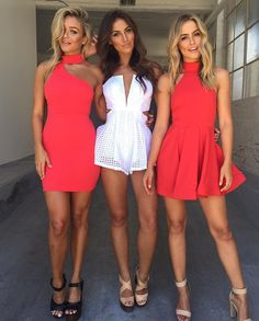 Squad goals how adorable are these three outfits White Playsuit - $69.95 online now red dresses will be available at 4pm today