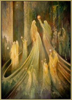 """Bride of Christ prophetic art. """"Every moment is a golden one for him who has the vision to recognize it as such."""" —Henry Miller (Art: """"Procession of the Light Workers"""" by Freydoon Rassouli) . I Believe In Angels, Prophetic Art, Angels Among Us, Post Impressionism, Wow Art, Guardian Angels, Angel Art, Visionary Art, Mystic"""