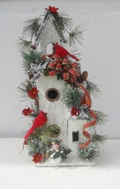 Country Christmas Winter Holiday Flower Arrangement on Bird House, Cardinals, Jan's Flowers and Frills on eBay.