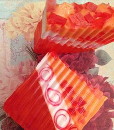 Orange-Strawberry Glycerin Soap. Melt and pour type.