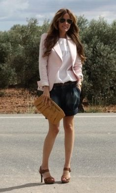 Love the light pink blazer with the blue shorts.
