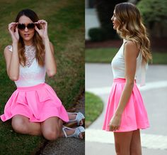 Love the hot pink skirt