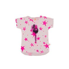 Noé & Zoë SS 16 - Girls tee in neon pink stars with flamingo http://www.noe-zoe.com/Collections/SS-16/