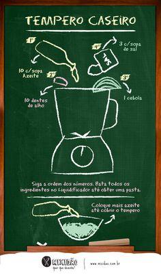 Receita ilustrada de Tempero caseiro. Uma receita muito fácil e rápida de fazer, para você economizar muito tempo na cozinha. Ingredientes: azeite, sal, cebola e alho.