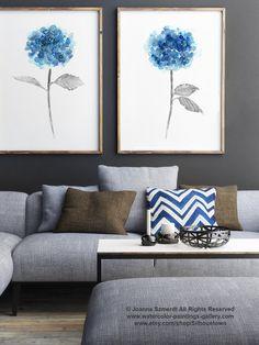 Blue Hydrangea Set of 2 Watercolor Painting, Abstract Flowers Poster, Botanical Art Print Floral Garden Artwork, Hydrangeas Girls Room Decor