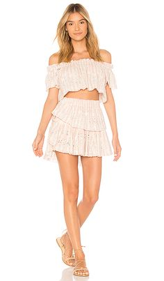 df5ea7917278 Shop for LoveShackFancy Stephanie Crop Top in Tan   Pink at REVOLVE. Free  day shipping and returns
