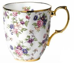 Royal Albert 1940 English Chintz mug, $28, For the 10-piece gift set featuring 1900 to 1940 Royal Albert patterns, $193,