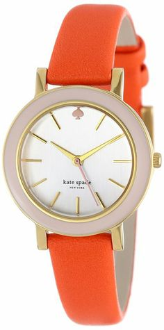 kate spade new york Women's 1YRU0272 Light Pink Maraschino Enamel Bezel Metro Mini Watch