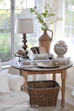 Round tller table in corner