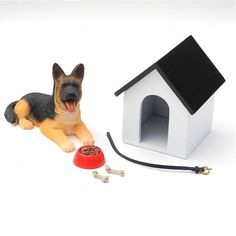 Miniature Garden or Fairy Garden Set with German Shepherd, Doghouse and Accessories, 6pc.. $19.99, via Etsy.