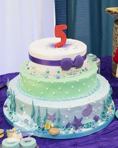Gorgeous cake at a Little Mermaid birthday party! See more party ideas at CatchMyParty.com!