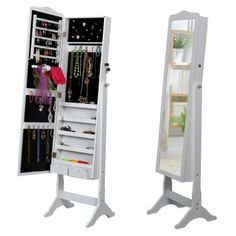 Songmics white standing mirror jewellery cabinet organiser box 158cm jbc82w - Psyche armoire a bijoux ...
