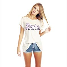 ba4ad8ed03 White Pink Barbie Letter Print Longline Short Sleeve T-Shirt