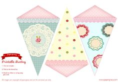 SIX PRINTABLE FLAGS Bunting  Birthday Party Jubilee Decorations Banners Tea Party