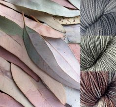 From Zen Yarn Garden:  This soft palette of neutral colors is inspired by a collection of faded, dried eucalyptus leaves. Pull in those pale grey-blues with Silversmith, add a dash of green-grey with Frosted Kiwi, and round out the rouge tones with our new OOAK colorway, Wrought Iron. Find them all in our Dyed to Order section:http://ow.ly/AJLlJ