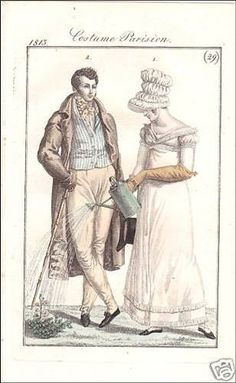 Lady and gentleman, Costume Parisien, 1813.