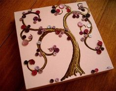 pink and curly button tree canvas