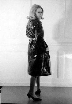 Vintage Black Rubber Raincoat