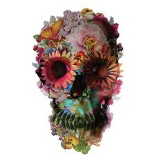 "Part of feature artist Ali Gulec's series ""The Message,"" this creative interpretation of a skull is covered in colorful flowers and is one of his most recognizable pieces. Used for everything from pri"