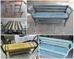 Do it yourself bench made out of chairs.