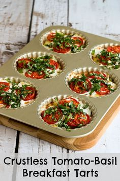 Crustless Tomato-Basil Breakfast Tarts with Mozzarella and Goat Cheese (Low-Carb, Gluten-Free, Meatless) [from KalynsKitchen.com]
