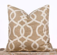 Wheat Brown Lattice Throw Pillow Decorative Cushion by LilyPillow, $18.00