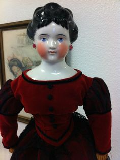 RARE Large Antique Fancy Hair China Head Doll w/ RARE Feathered Bangs