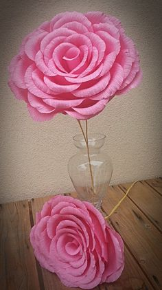 Large Dark Pink Color Crepe Paper Flower Rose by TheCustomCouple, $24.95