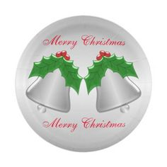 Silver Bells Silver Coloured Christmas Paper Plate